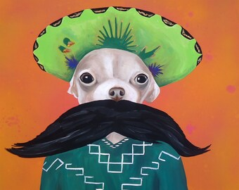 Spring Clearance Print Chihuahua mexican sombrero mustache poncho PRINT