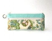 SALE - Fabric floral zipper pouch, pencil case, clutch, handbag - The Epu Pouch in  mint with floral cream/ peach fabric
