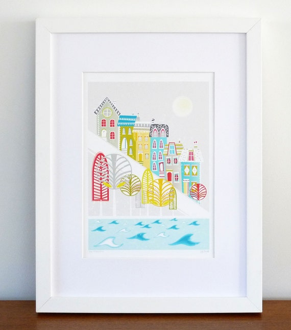 San francisco art print skyline wall art cityscape by lauraamiss - Home decor san francisco image ...