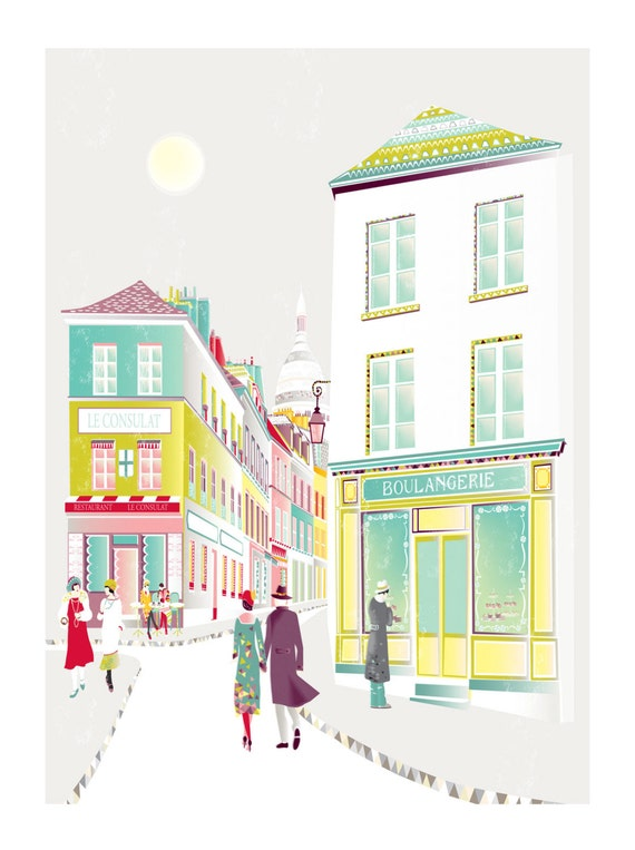 Paris Art Print Montmartre, French Wall Art, Illustration Cafe Society Skyline Cityscape Illustration, For Home, Office: Style MPSX01