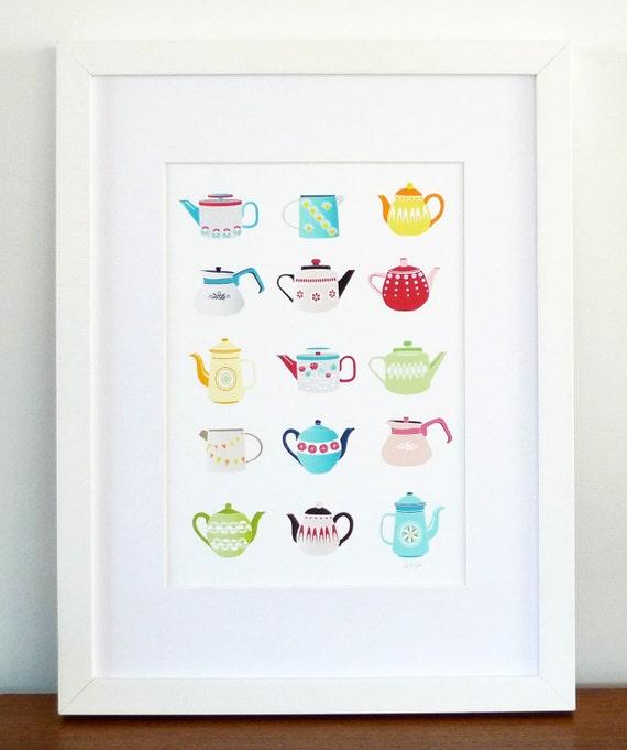 Teapots, Art Print, Retro Kitchen Teapots, Teapot illustration, poster, children's, vintage retro, kitchen art, Christmas Gift , SPPTP1