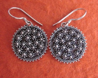 Balinese Sterling Silver Metalwork Earrings / silver 925 /  Dangle earrings / Bali handmade jewelry