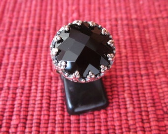 Balinese Silver 925 Black Onyx Ring /  size :  8.5 ready to ship  / sterling silver / granulation technique  / Bali handmade jewelry