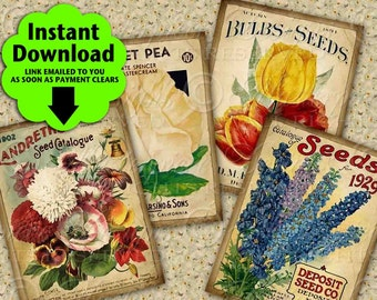"Garden Seeds Vintage / Seed Packets / Gardening - Printable 2.5""x3.5"" Designs / Hang Tags, Instant Download and Print Digital Sheet"