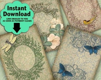 Vintage Elegance Ornate Frames Flowers Butterflies Dragonfly Bird Tags - Printable Hang Tags, Instant Download and Print Digital Sheet