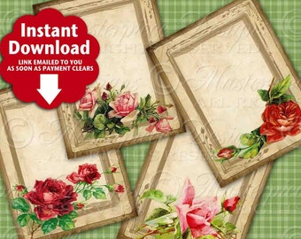 Rose Garden Victorian / Lovely Vintage Roses Flowers / Hang Tags / Gift Tags / Jewelry Cards - Printable Instant Download Digital Sheet