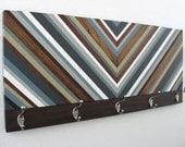 Wood Coat Rack - Chevron Art - Hat Rack - Hooks - Entryway