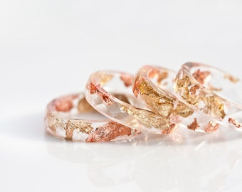 Resin Stacking Ring Yellow Pink Gold Flakes Small Faceted Ring OOAK boho minimalist jewelry