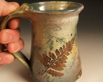coffee mug tea mug stoneware in fern and pin oak with green leaf glaze