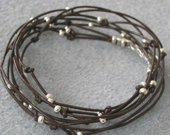 SALE  Everyday Brown Leather Wrap Bracelet