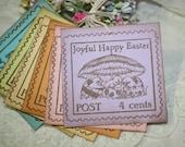 Easter Gift Tags -  Vintage Postal Stamp Image - Joyful Happy Easter - Pastels