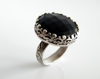 Faceted Black Onyx Rose Cut Cocktail Ring Fancy Flowered Band