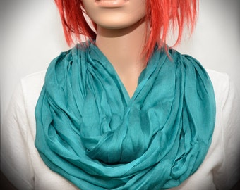 Turquoise Silk scarf - Infinity scarf