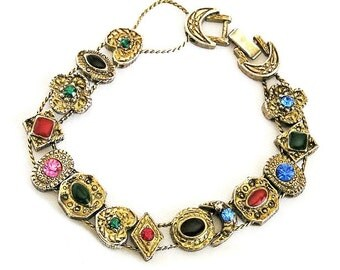 Colorful Slide Bracelet, Multi-Color Sliding Charm Bracelet