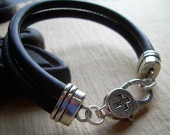 Leather Bracelet , Black Stitched Nappa Leather Cord Bracelet, Lobster Clasp Closure, Mens Bracelet, Mens Jewelry