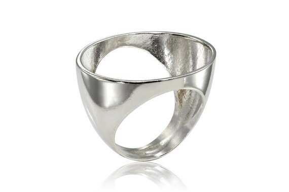 Geometric Silver Ring, Sterling Silver Oval Ring, Geometric Oval Ring, Gifts for Her, Minimal Ring