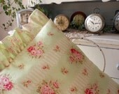 Pink Roses Go Green on Shabby Chic Pillow for Cottage Decor