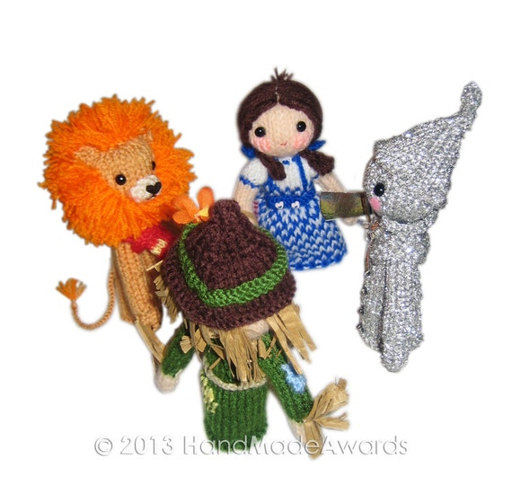 Cable Mittens Knitting Pattern : The Wizard of Oz Finger PUPPETS PDF Emal Knit PATTERN from HandMadeAwards on ...