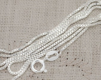 Sterling Silver 1mm Box Chain 16, 18, 20, 22, 24, 30, 36  inches Long