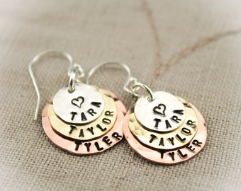 Personalized Hand Stamped Mother or Grandmother Earrings Layered Gifts for Her
