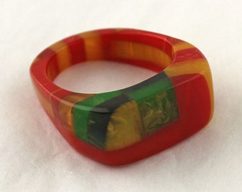 REDUCED - Deco Bakelite Ring - Multi Color Laminated - Large Size