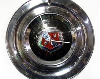 Unique Wall Clock made from a 1953 Buick Special Hubcap - Recycled Hub Cap
