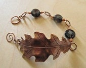 Copper Leaf Cuff with Faceted Smokey Quartz Coin Gemstones
