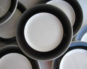 Vintage Black Fade Trim on White Bread and Butter Plates Mayer China Restaurant Ware