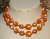 VINTAGE 1950s  MOONGLOW orange lucite 2 row necklace- so FAB  excellent cond.  ooak