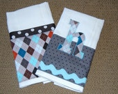 Custom Listing for Honi - 2 Burp Cloths - letters M and L