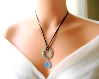 Leather aqua chalcedony wire wrapped gold necklace, bohomian, boho, gypsy