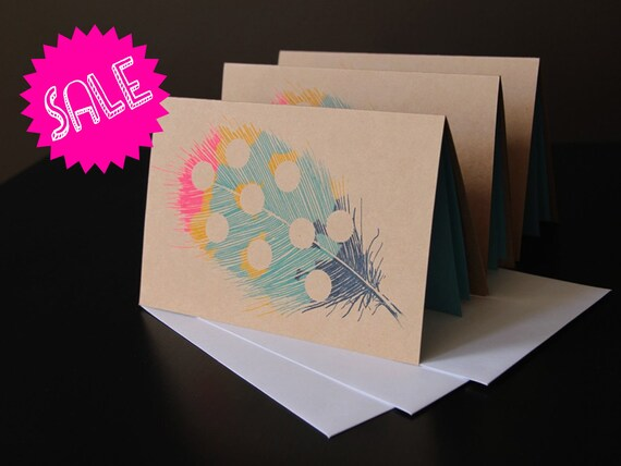 SALE feather gocco print notecards LIMITED EDITION set of 3