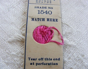 Antique 1920's Silk Embroidery Floss Belding Bros. Pure Filo Silk Gorgeous Raspberry Pink