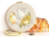 "Embroidered Hoop Art - 'Rose, Joyce & Myrtle' chickens textile artwork in yellow - 8"" hoop"