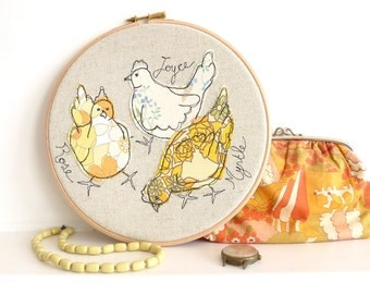 "Me & My Girls - Personalised Embroidered Hoop Art - Chickens textile artwork in yellow - 8"" hoop"