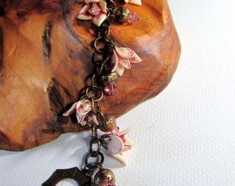 Rambeling Rose -  Vintage lucite flower and Swarovski bracelet