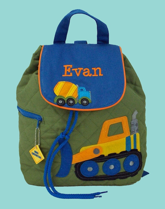 Personalized Stephen Joseph Backpack CONSTRUCTION Style With In Green and Blue-Monogramming Included