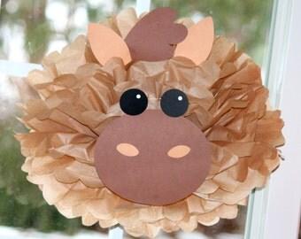 Horse pony tissue paper pompom kit Old MacDonald farm party