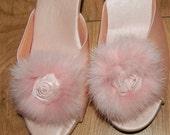 Feminine, Vintage, Pale Pink Satin & Fur  Boudoir Slippers
