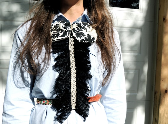 Women's Accessory Black Lace Shirt Ruffle with Oversized Damask Bow for Women and Girls by E W McCall