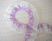 "Lavender Satin and White Lace Ruffle Trim, 2"" Wide"