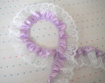 """Lavender Satin and White Lace Ruffle Trim, 2"""" Wide"""