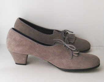 Vintage Oxford Heeled Shoes, Grey Suede Leather with Fringe