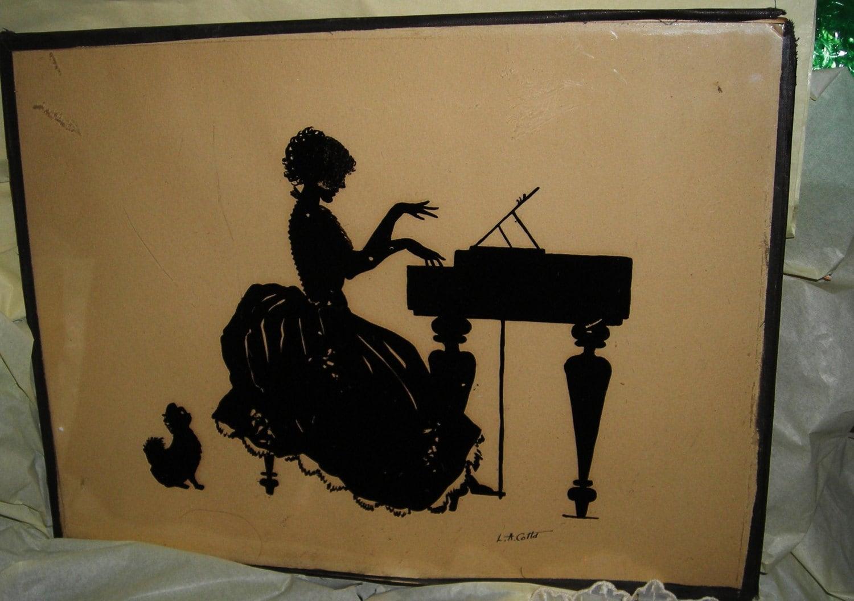 art deco silhouette vintage framed. Black Bedroom Furniture Sets. Home Design Ideas