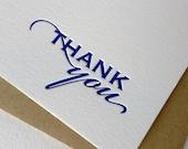 Letterpress Stationery Set - Thank You cards - Royal Blue - 10 cards