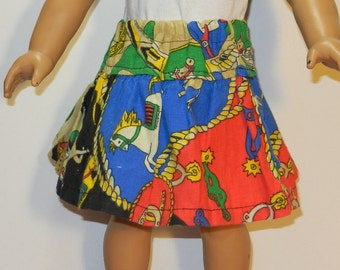 BK Red, Black, Blue, Green, and Tan Cowgirl Skirt with Horses, Boots, Ropes, and Spurs Print - 18 Inch Doll Clothes fits American Girl