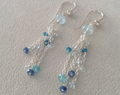 Aquamarine Dangle Earrings in Sterling Silver with Apatite and Kyanite