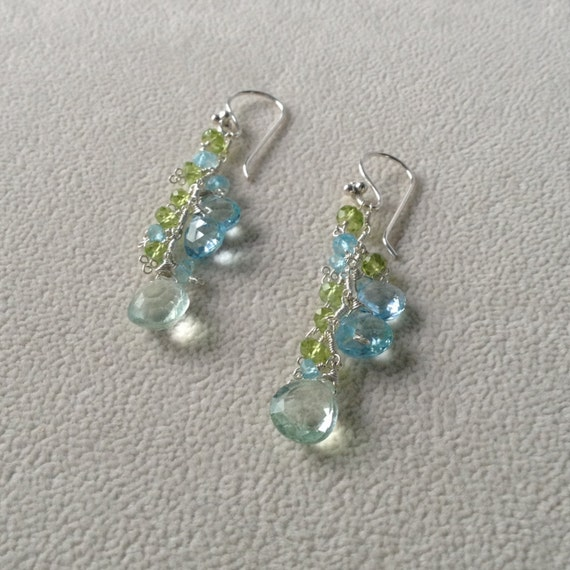 Sky Blue Topaz Earrings with Green Fluorite and Peridot