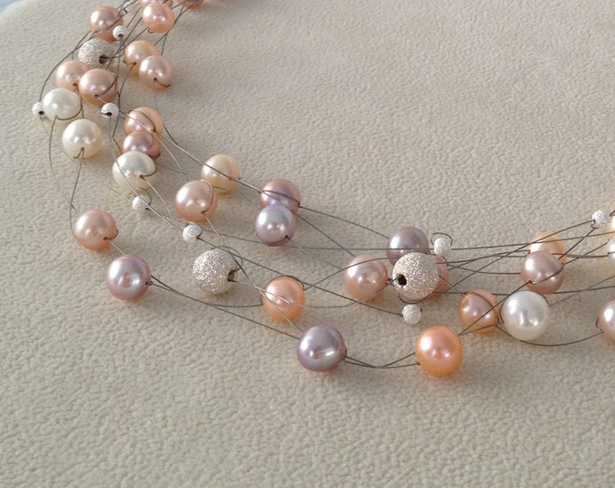 Multicolored Champagne Pink Blush Colored Freshwater Pearls Illusion Necklace in Sterling Silver