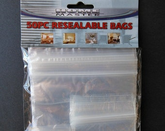 Plastic Zippered BAGS- Perfect for storing STICKERS- An Assortment of Several Sizes, Ziplock bags, sticker storage, jewelry organizing